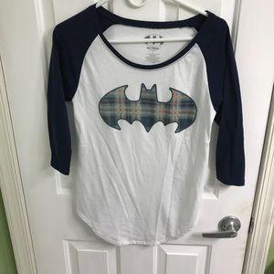 Women's Batman 3/4 sleeve shirt navy and white